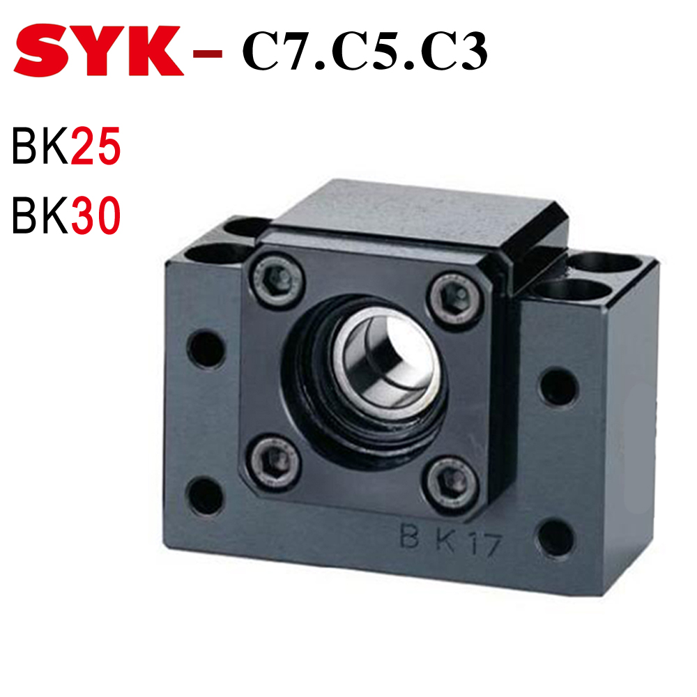 SYK BK25 End Support Unit BK25 C3 C5 BK30 C7 Motor Bracket Nut Housing for Ballscrew SFU3205 SFU4005 noulei 1pcs bk25 c3 and 1pcs bf25 c3 ball screw end support for sfu3205 sfu3210cnc