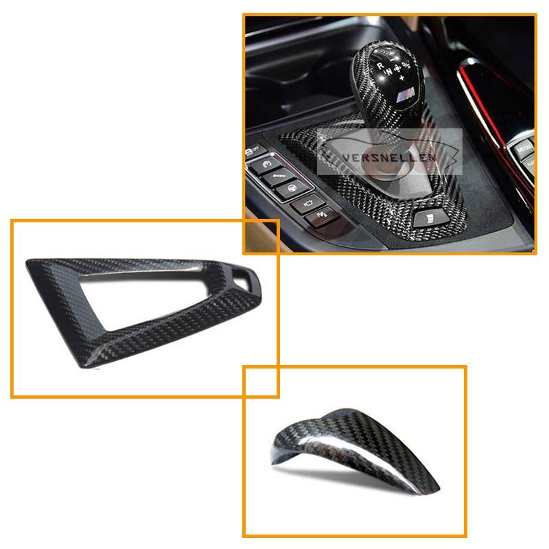 RHD Carbon Fiber Steering Wheel Trim Dry interior Gear Knob Cover For BMW M2 F87 F80 M3 F82 F83 M4 F10