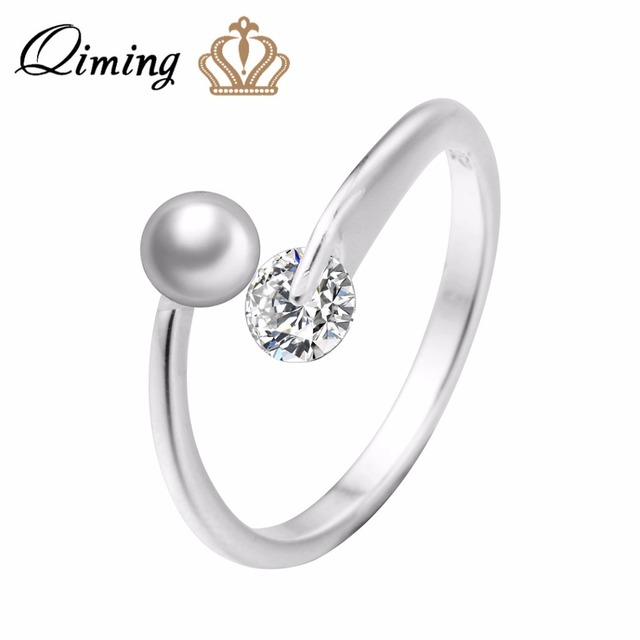 QIMING Delicate Bride Wedding Rings For Women Adjustable Charm Fashion  Brand Zircon Crystals Peal Ring Sweet Jewelry Gift 4f91626d7323