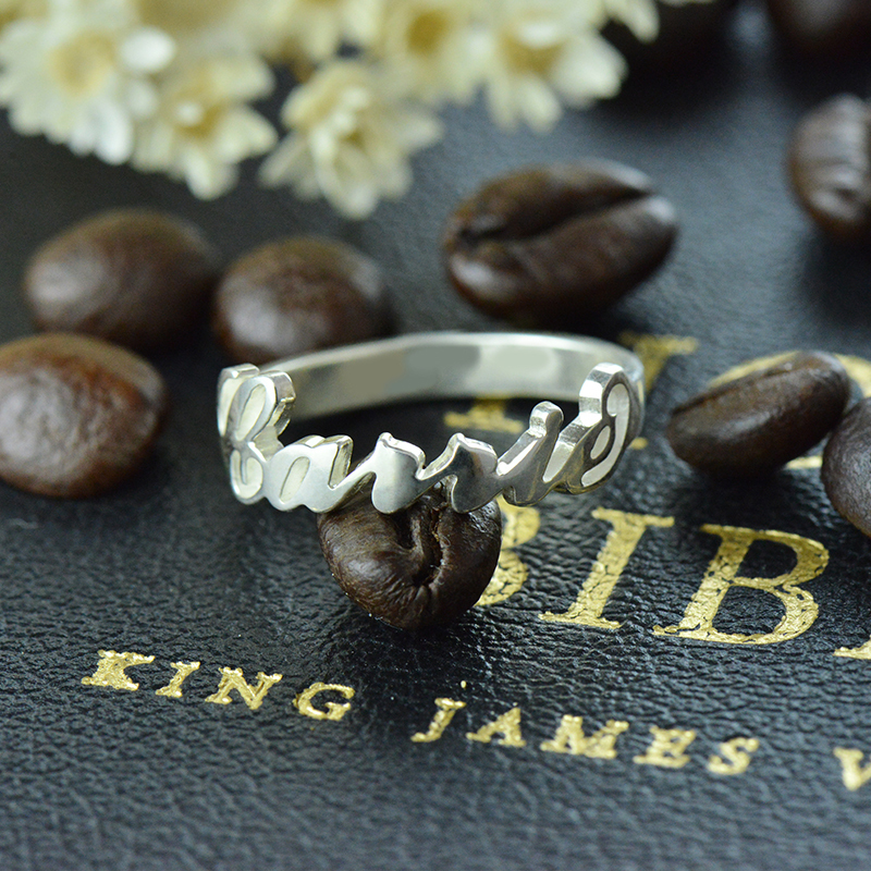 AILIN Personalized Name Ring in 925 Sterling Silver Carrie Bradshaw Style  Unique Monogram Ring Bridesmaid Jewelry Valentine Gift-in Rings from Jewelry  ... f3e7d91f70e5
