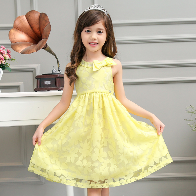 2016 New Fashion Baby Flower Girls Princess Dresses Girl Summer Cotton Evening Dress Kids Wedding Party Dress Children Clothes