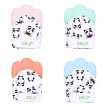 Cartoon Panda Cat Silicone Teethers Molar Gloves Sound Baby Teether Pacifier Glove Chewable Infant Nursing Mittens Baby Care(China)