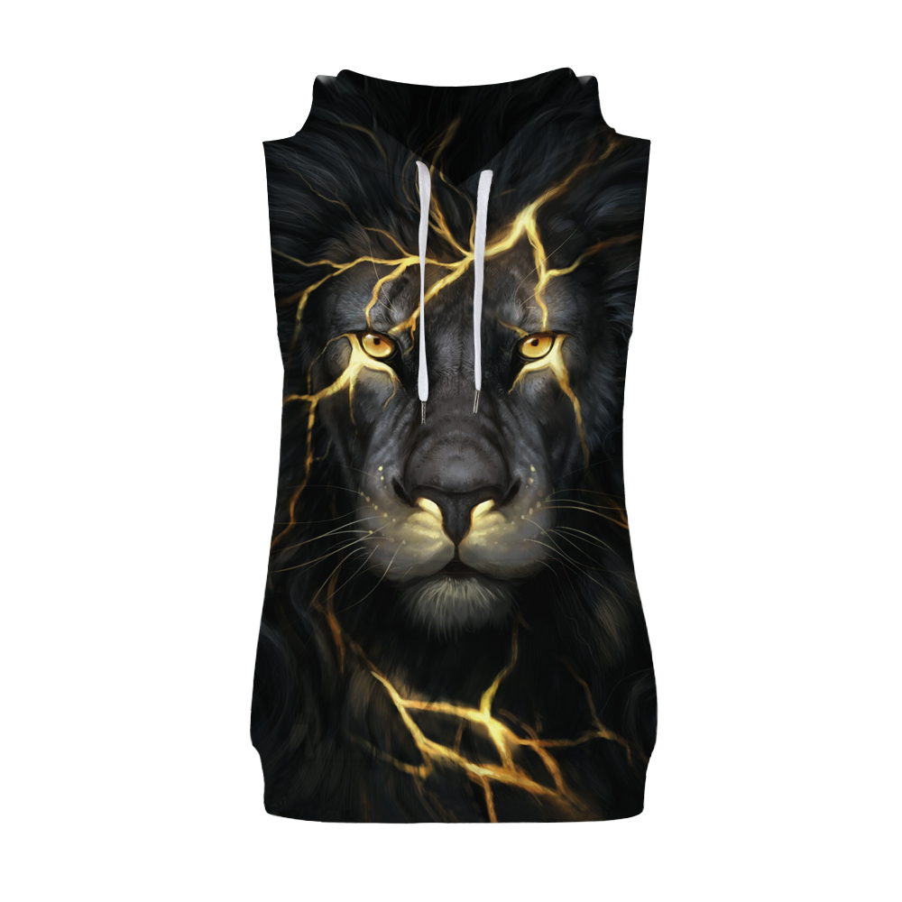 Miduo Hot hoody Black 3d Lion Hoodies Men Women Fashion Winter Spring Sportswear Hip Hop Hooded Sleeveless Sweatshirt 2018