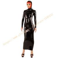 Латекс длинное женское платье резиновая Фетиш женские платья с капюшоном черные модные резиновые платья LD229