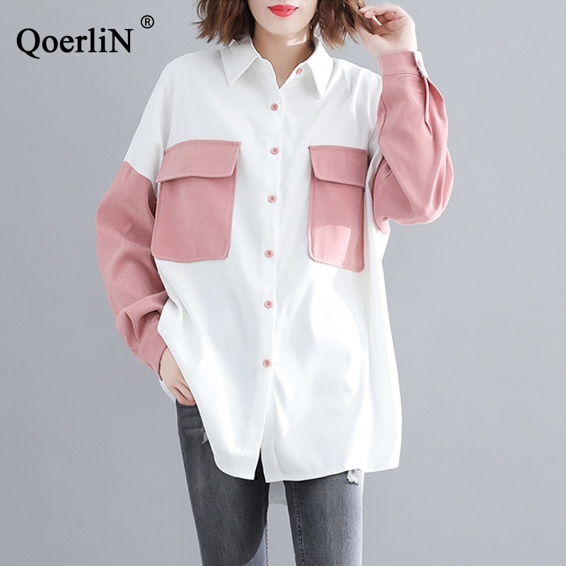 Qoerlin White And Pink Jacket Coat Single-Breast Long Sleeve Spring Fashion New Arrivals 2019 Shirts Coat Blouse Jacket Outwear