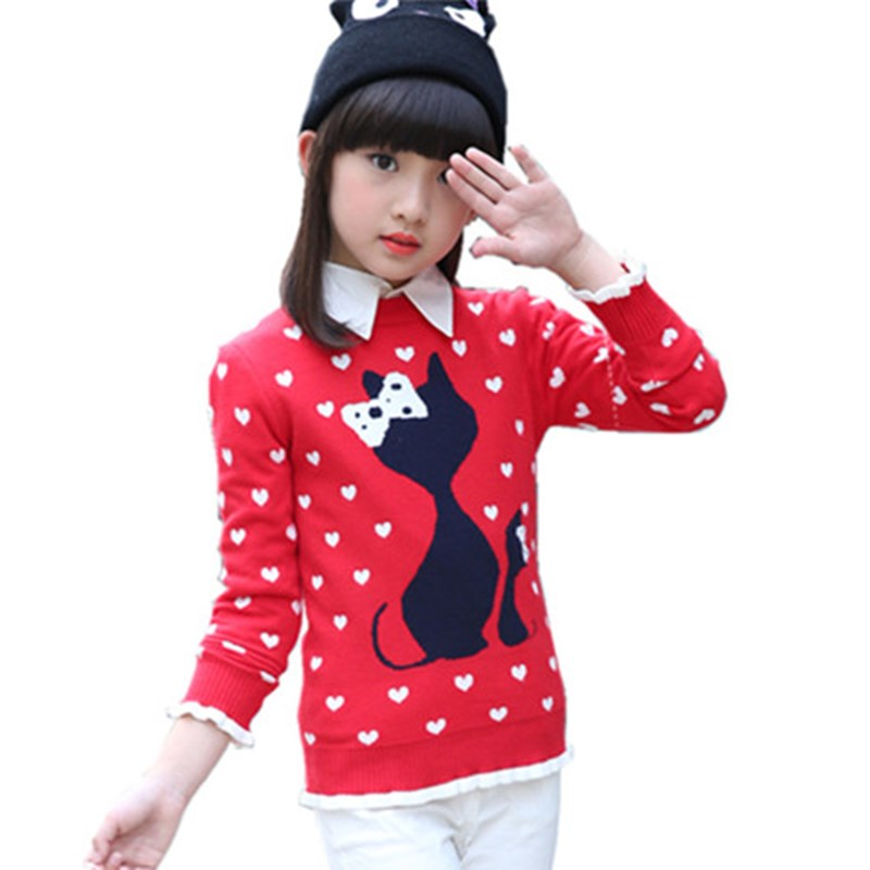 Girls Sweaters Autumn Winter Sweater For Girl Thicken Children Clothing Pull Fille Pullover Kids Clothes Knitting Baby Warm Tops boys and girls cartoon sweaters 2017 autumn winter new children knitting clothes baby casual cotton knit wear pullover tops 3 8y