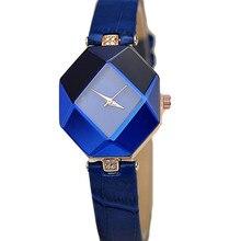 Relojes de mujer gema corte geometría cristal cuero cuarzo reloj pulsera vestido moda regalo para
