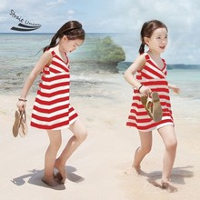 Cotton 2016 Summer Child Clothing Children Clothes Girls Dress Baby Princess Sleeveless Striped Dresses