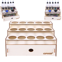 OPHIR DIY Wood Paints Rack With Drawers 15 Holes For Acrylic Tattoo Ink Paints Rack With