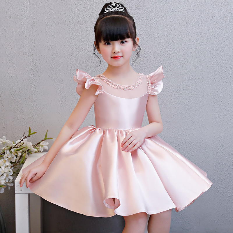 Pink Satin Flower Girl Dresses Wedding Beading Pleated Kids Pageant Dress for Birthday Costume Big Bowknot
