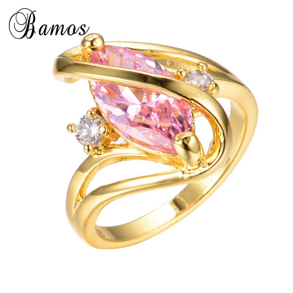 Bamos Luxury S Shape Pink Horse Eye Wedding Rings For Women Unique Cubic  Zirconia Yellow Gold