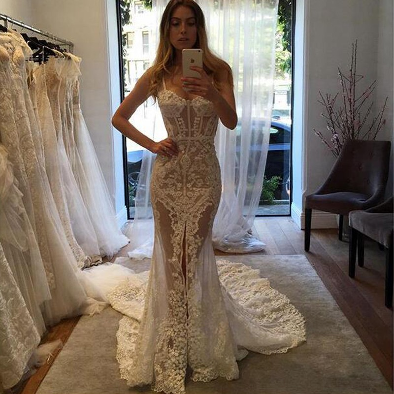 Spaghetti Straps Lace Wedding Dresses 2017 Mermaid Elegant Beaded Sexy Bridal Dresses Imported Robe De Mariee wedding Gowns