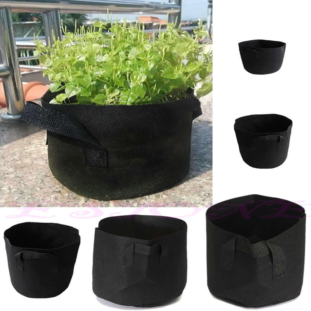 Plant Pouch Root Container Grow Bag Aeration Nursery Pots 5size 1 10 Gallon Round Black Non Woven Fabrics In From Home Garden
