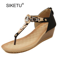 STARWISH Ladies Casual Crystal Wedges Sandals New Fashion High Heels Flip Flops Sweet Gladiator Sandals For