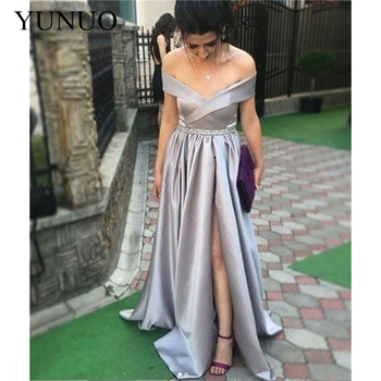 YuNuo Long Prom Dresses V-Neck Off The Shoulder Split Side Floor Length Formal Evening Dress Party Gowns 2019
