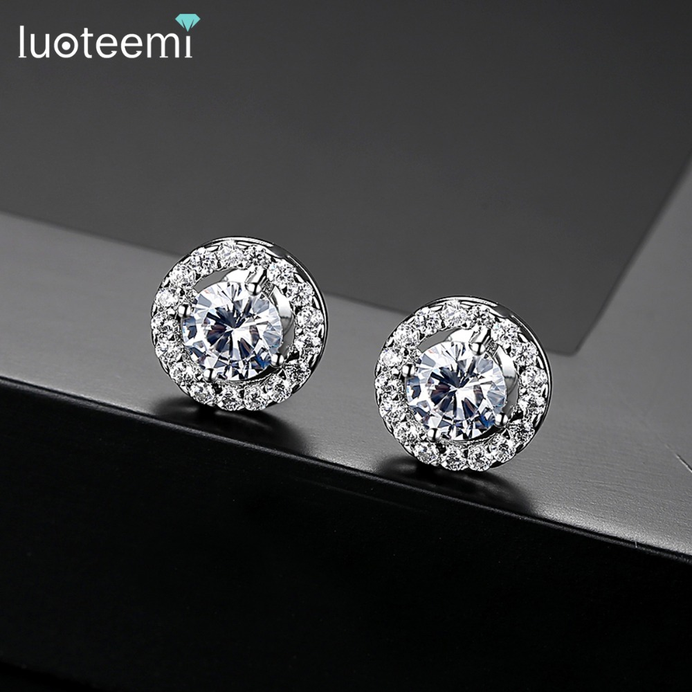 LUOTEEMI Hot Sale Silver Color AAA Cubic Zirconia Brilliant s