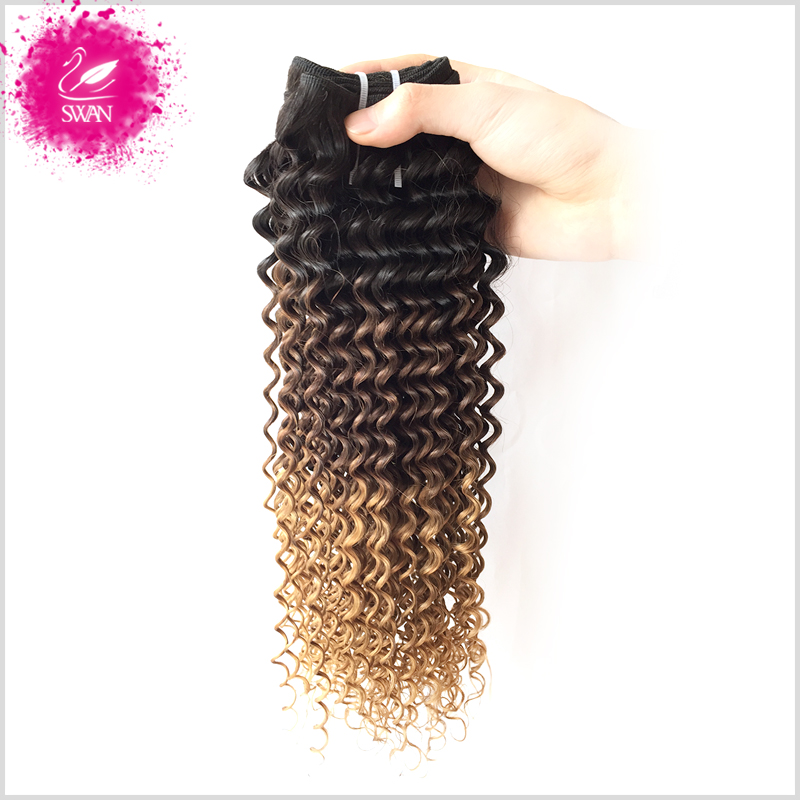 9A Malaysian Curly Weave Human Hair 1 Bundle Malaysian Hair Deep Curly Ombre Weave Unice Hair 1B/4/27 Ombre Hair Extensions