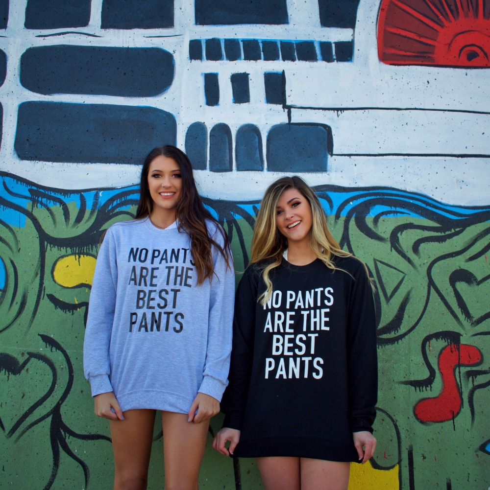 No Pants Are The Best Pants  Sweatshirt - Women's Graphic Crewneck Sweatshirt Bff Swetashirts Casual Tops Jumper Tumblr Tops