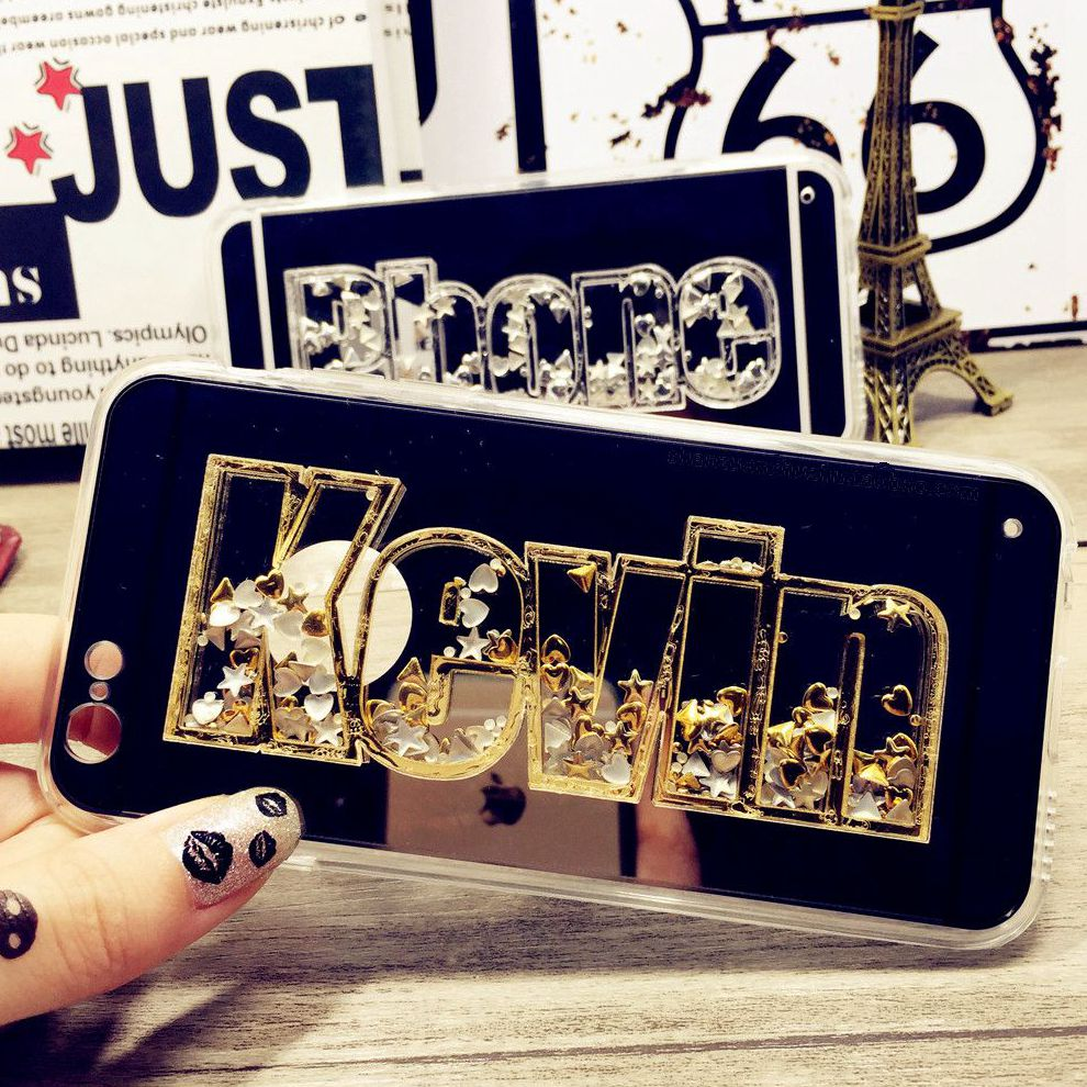 For iphone 5 SE 6 7 8 plus 7+ X Luxury 3D New Exclusive Star Heart Custom Name Personal Mirror Phone Case COVER