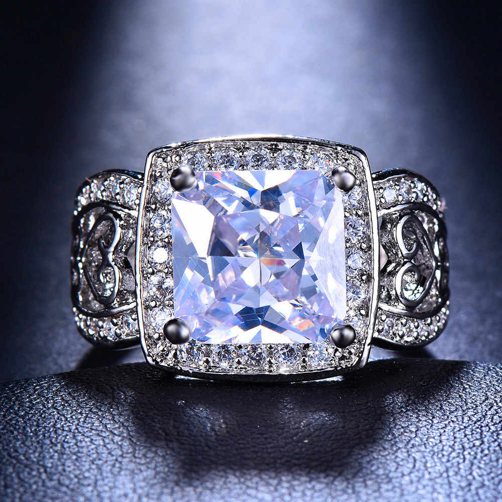 Luxury ชายหญิงใหญ่สีม่วงสีเขียวสีชมพูหินแหวน 925 เงินแหวนวงดนตรีแหวนสัญญาหมั้นแหวนใหม่ปีของขวัญ