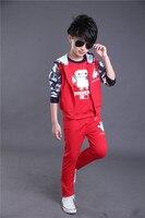 Fashion Winter Boys Clothes Teenage Robot Sleeveless Kids Sport Hoodie Kids Boys Sweatshirt Long Pants Boutique