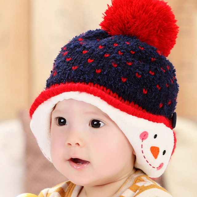 Baby Girls Hat Young Child Winter Cotton Hats Babies Boys Love Snow Plus  Velvet Wool Hat 93f5c3b7521