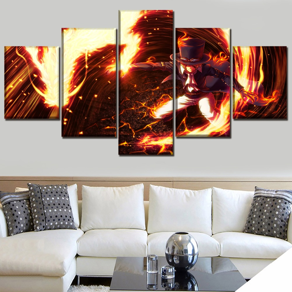 HD Printed Canvas Painting Modular Pictures 5 Panel Animation One Piece Wall Art Poster Home Decoration Living Room Framework in Painting Calligraphy from Home Garden