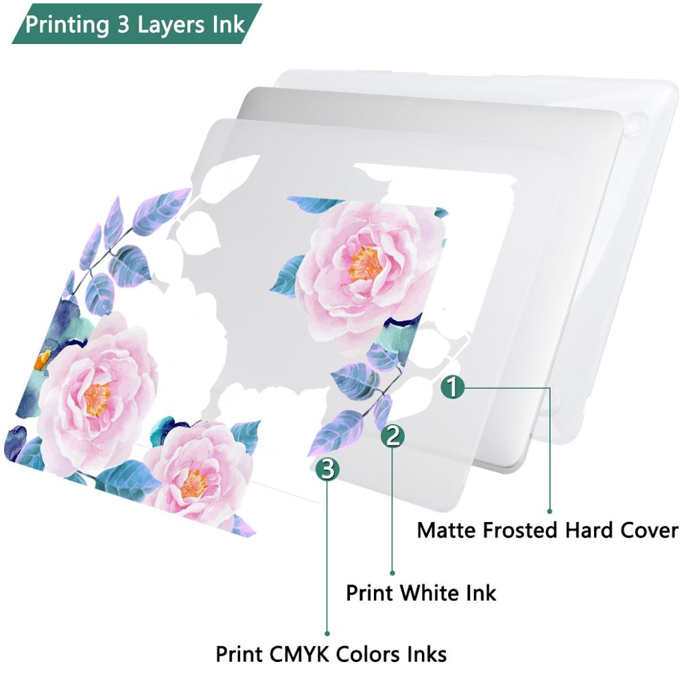 5 in 1 Set Floral Print Matte Case For Apple MacBook Pro Air 11 12 13 15 touch bar 2018 A1932 A1706 Hard Cover with Free Gift in Laptop Bags Cases from Computer Office