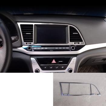 lsrtw2017 titanium black stainless steel car navigation frame trims for hyundai elantra 2016 2017 2018 2019 2020