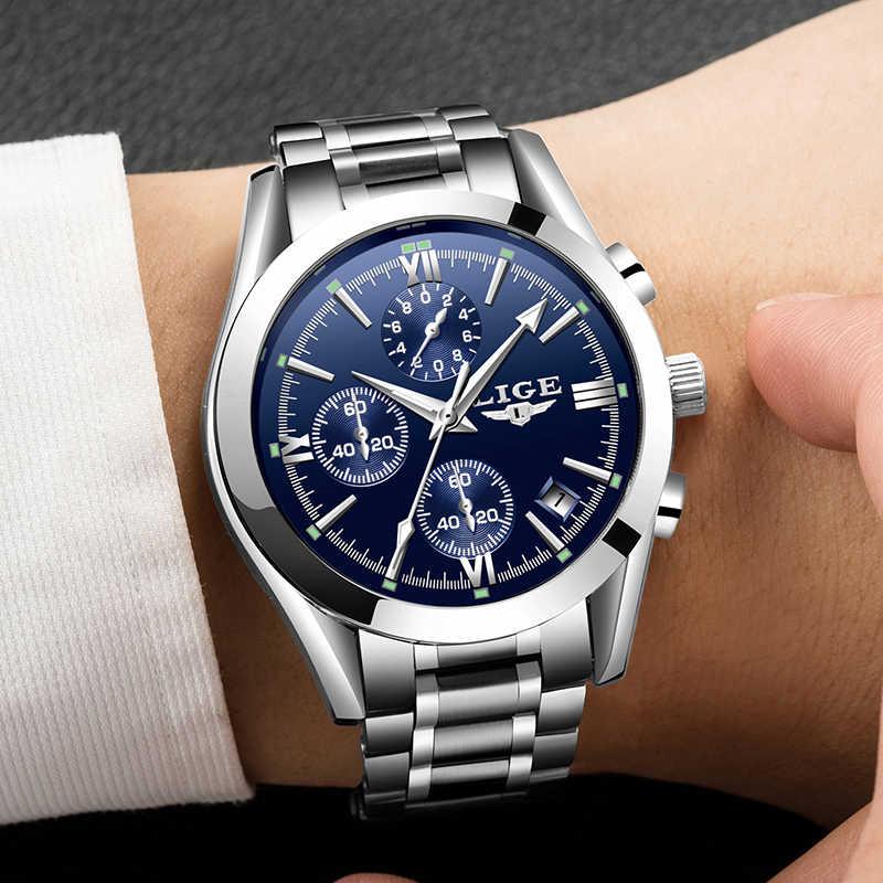 Mens Fashion LIGE Watches Top Brand Luxury Business Quartz Watch Men Waterproof Full Steel Clock Male Dress Wristwatches+box