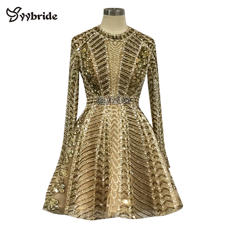 New Luxury Gold Beading Cocktail Dresses Full Sleeves Crystals Party Dresses Mini Short Backless Scoop Vintage Celebrity Dresses(China)