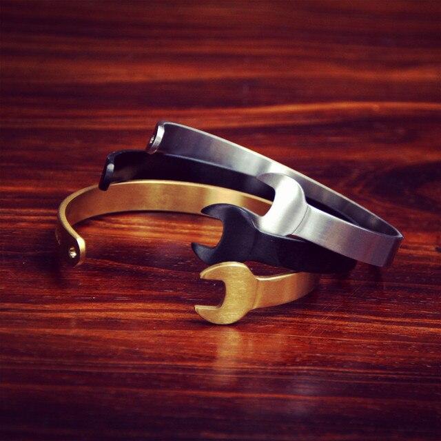 Chiave aperto il braccialetto L' argento antico e nero lettere uomini bracciale