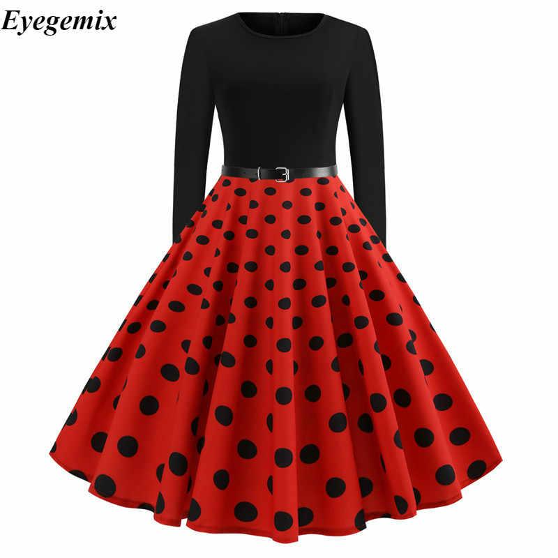 Vermelho dot elegante vestidos de festa feminina manga longa vestido primavera grande balanço rockabilly vintage vestido plus size casual natal robe