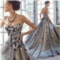 Personalidade do vintage do Laço Preto e Branco Flores Decorado Arrastando o Vestido de Casamento/Arrastando Vestido Da Celebridade 140