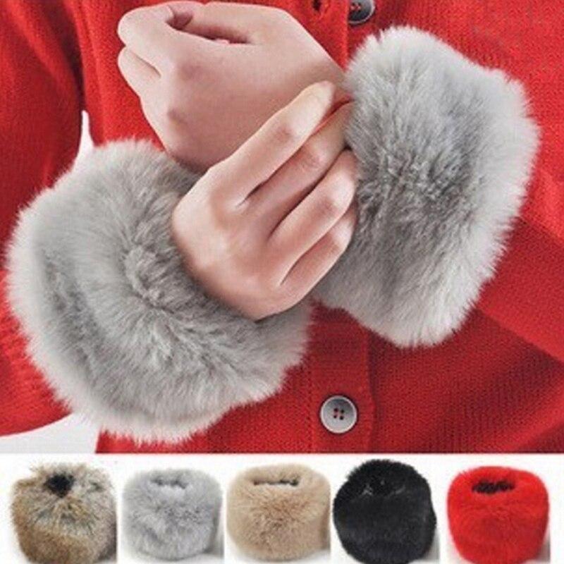 Neue Frauen Winter Wrist Wärmer Oversleeve Faux Pelz Winddicht Arm Armband Armbänder Arm Ärmel Armstulpen Bekleidung Zubehör