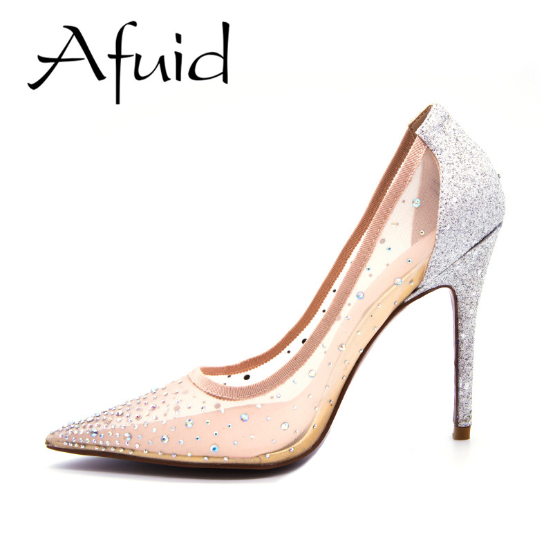 Afuid Spring Summer High Heels Women Pumps Crystal Bling Slip On Thin - Women's Shoes
