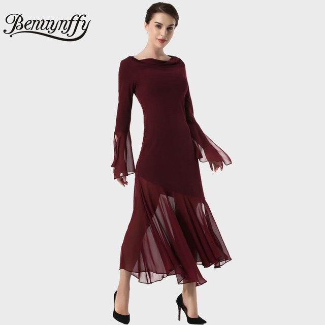 Benuynffy Herbst Sexy Langes Kleid Frauen Elegante Burgund Party ...