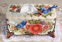 Керамическая синяя птица коробки для салфеток домашний декор ремесла украшение комнаты бумажный держатель орнамент фарфоровые фигурки Св