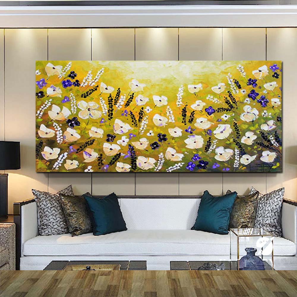 Hand Painted Canvas Abstract California Yellow Poppies Oil Painting Abstract Impasto Textured Art Living Room Home Wall Decor-in Painting & ...