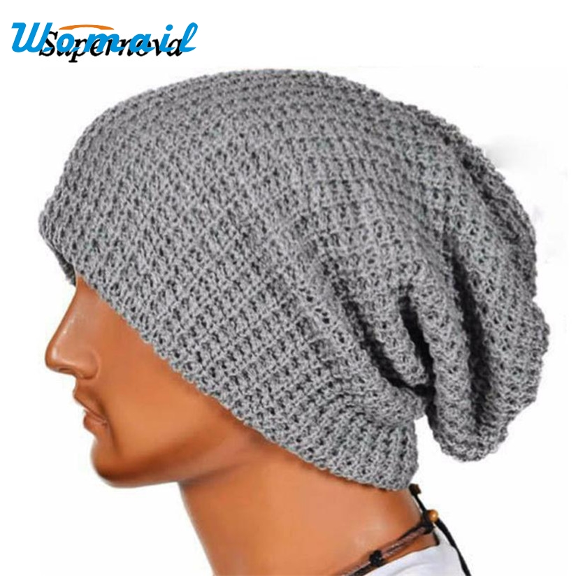 Men's Skullies Beanies Warm Winter Slouchy Baggy Knit Hat Cap Hip-hop Beanie Hats For Men Spring Autumn Hat female cap WOct4 2017 winter women beanie skullies men hiphop hats knitted hat baggy crochet cap bonnets femme en laine homme gorros de lana