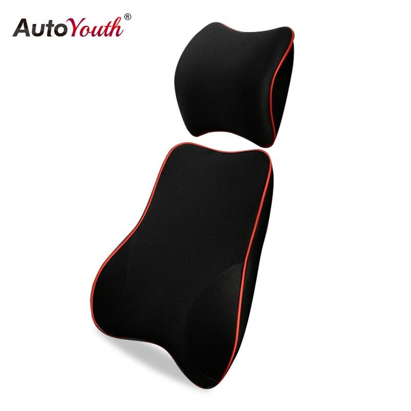 AUTOYOUTH voiture soutien lombaire oreiller et voiture appui-tête cou oreiller Kit-soins de santé soutien lombaire universel ajustement majeur sièges auto