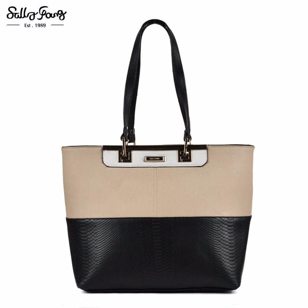 2017 Sally Young Brand Fashion Women Bag Solid Half Patchwork Tote Bag Color Block Decoration Handbag  SY2120