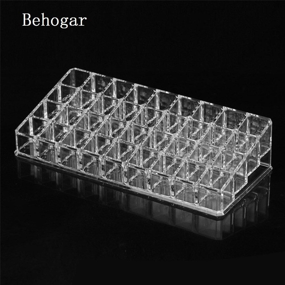Behogar 36 Compartment Clear Acrylic Makeup Organizer Cosmetic Storage Box for Lip Gloss Lipstick Nail Polish Make Up Holder