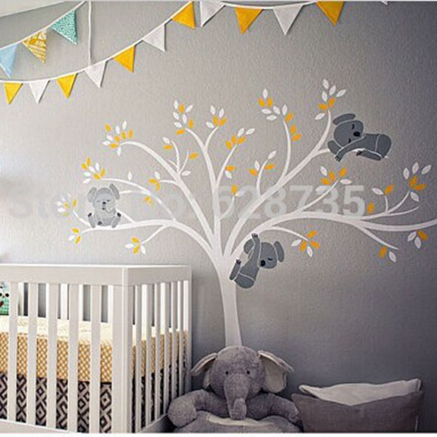 Wall Decor Stickers Nursery : Free shipping oversized large koala tree wall decals for