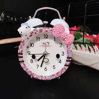 Kids Hello Kitty Cat Digital Alarm Clock Diamond Cube Night Wake Up Light Clock Mechanism Mesa De Som Digital TableWatch 40N0098