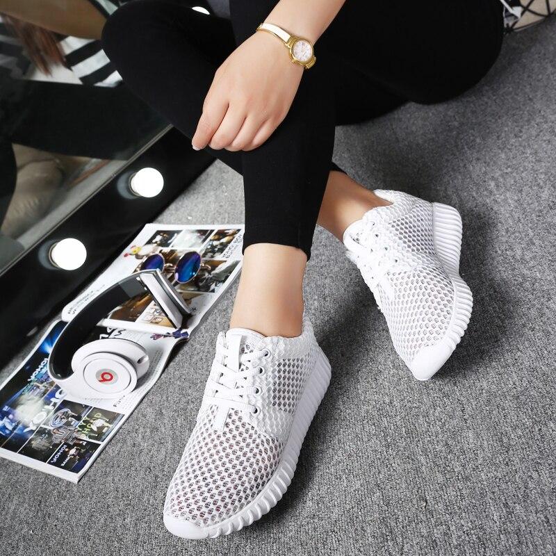 Somix Новый Для женщин спортивная обувь Летний стиль 2017 г. (сетчатый материал) Кроссовки для Для женщин удобные дышащие белые Спортивная обувь Для женщин