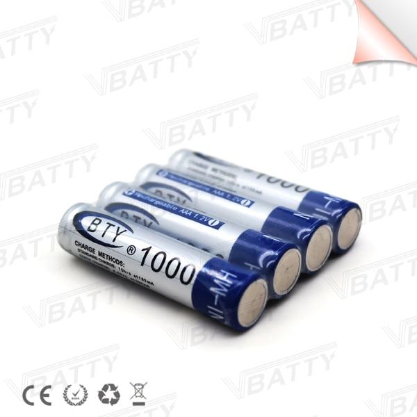 4 pcs/lot BTY MI-MH 1.2V Li-ion battery 1000mah Mi-MH battery rechargeable AAA rechargeable battery