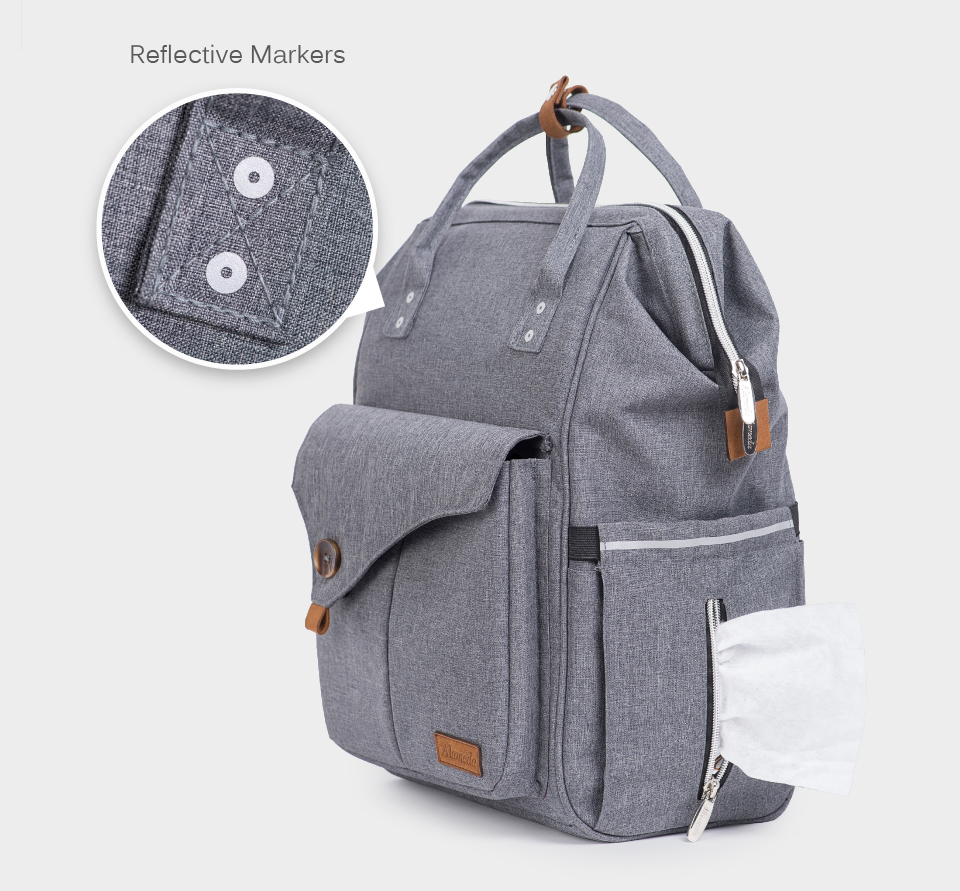 HTB1J3JRHh1YBuNjy1zcq6zNcXXaS Alameda Fashion Mummy Maternity Bag Multi-function Diaper Bag Backpack Nappy Baby Bag with Stroller Straps for Baby Care
