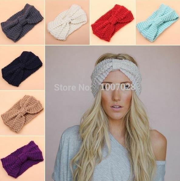 15f3383385e knot knit headband bow crochet turban head wrap ear warmer hair accessories  women cable decoration winter free shipping