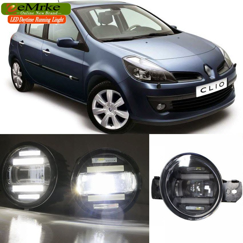 eeMrke Xenon White High Power 2in1 LED DRL Projector Fog Lamp With Lens For Renault CLIO 2 II BB012_CB012 Hatchback 1998-2015 цена